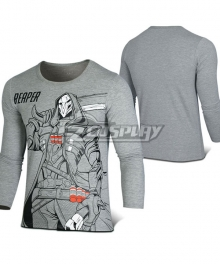 Overwatch OW Reaper Gabriel Reyes Gray Long sleeve T-shirt Cosplay Costume