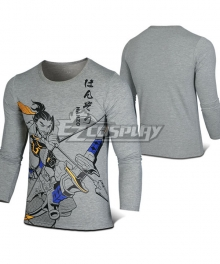 Overwatch OW Hanzo Shimada Gray Long sleeve T-shirt Cosplay Costume