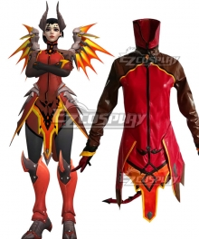 Overwatch OW Mercy Devil Outfit Halloween Cosplay Costume - Only Top, Short, Gloves