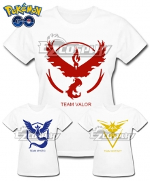 Pokémon GO Pokemon Pocket Monster Team Valor Team Mystic Team Instinct White T-shirt Cosplay Costume