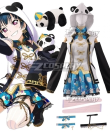 Love Live! Sunshine!! China Dress Ver Yoshiko Tsushima Cosplay Costume - Including Panda Doll
