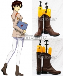 EVA Neon Genesis Evangelion Maya Ibuki Brown Cosplay Shoes
