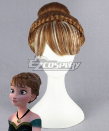 Movie Frozen Anna Coronation Custom Wig Cosplay Costume Snow Queen Anime Brown Hair