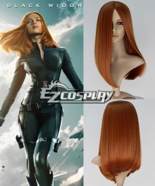 Captain America 2 The Winter Soldier Natasha Romanoff Black Widow Long Straight Auburn Brown Cosplay Wig