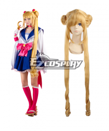 Sailor Moon Tsukino Usagi Princess Serenity JK School Uniforms Anime Style Long Orange Cosplay Wig