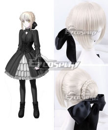 Fate Stay Night Black Saber Artoria Pendragon King Arthur Silver Cosplay Wig