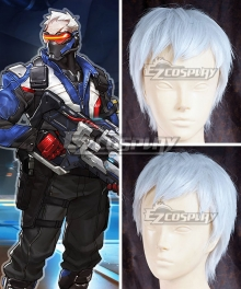 Overwatch OW Soldier 76 John Jack Morrison Short White Cosplay Wig