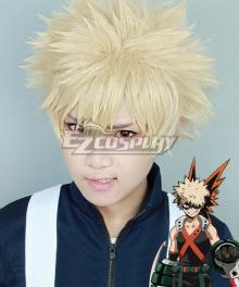 My Hero Academia Boku no Hero Akademia Katsuki Bakugou Light Golden Cosplay Wig