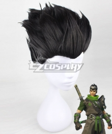 Overwatch OW Sparrow Genji Black Cosplay Wig