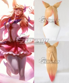 League of Legends LOL Star Guardian Ahri Graded Golden Orange Pink Cosplay Wig