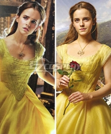 Disney Beauty and The Beast Movie 2017 Belle Yellow Dress Cosplay Costume
