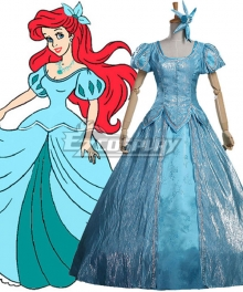 Disney The Little Mermaid Ariel Princess Blue Dress Cosplay Costume - A Edition