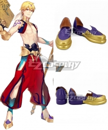Fate Grand Order Caster Gilgamesh Golden Purple Cosplay Shoes