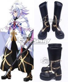 Fate Grand Order FGO Caster Merlin Black Golden Shoes Cosplay Boots