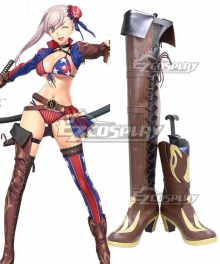 Fate Grand Order FGO Saber Miyamoto Musashi Brown Shoes Cosplay Boots