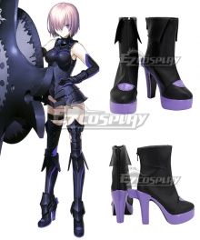Fate Grand Order Mash Kyrielight Black Purple Cosplay Shoes
