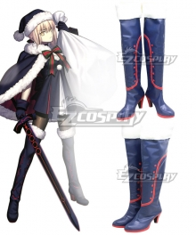 Fate Grand Order Saber Christmas Altria Pendragon Blue Shoes Cosplay Boots