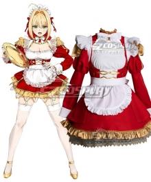 Fate Grand Order Saber Nero Claudius Caesar Augustus Germanicus Maid Cosplay Costume