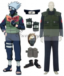Naruto Hatake Kakashi Deluxe Cosplay Costume and Accessories Set