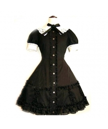 Black Lace Corset Dress Lolita Cosplay Costume