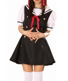 Black Dress Short Sleeves Sailorl Uniform Cosplay Costume