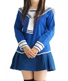 Blue Long Sleeves School Uniform Cosplay Costume