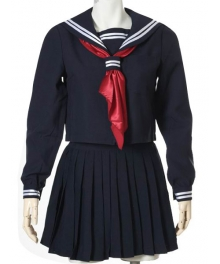 Deep Blue Long Sleeves Sailor Uniform Cosplay Costume
