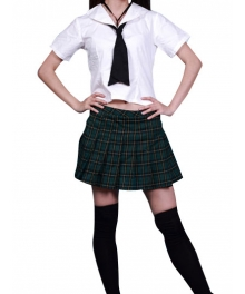 High waisted Short Sleeves Grid Skirt School Uniform Cosplay Costume