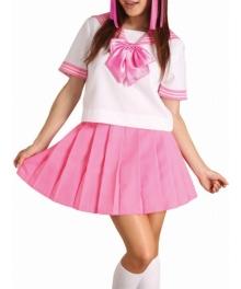 Pink Bowknot Short Sleeves School Uniform Cosplay Costume