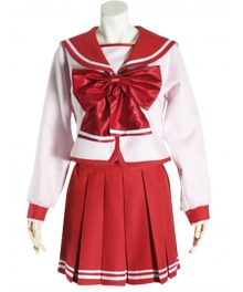 Red Bowknot Long Sleeves School Uniform Cosplay Costume