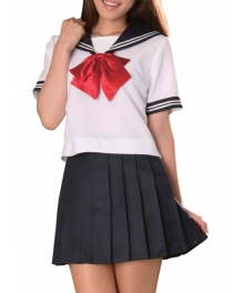 Red Bowknot Short Sleeves Sailor Uniform Cosplay Costume