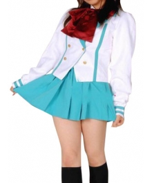 Light Blue Short Sleeves School Uniform Cosplay Costume