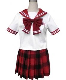 Red Short Black Short Sleeves Grid Skirt Sailor Uniform Cosplay Costume