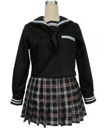 Black Short Sleeves Grid Skirt Sailor Uniform Cosplay Costume