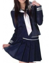 Deep Blue Long Sleeves School Uniform Cosplay Costume