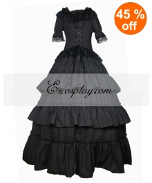 Cutton Black Short Sleeve Gothic Lolita Dress