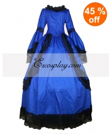 Cutton Blue Long Sleeve Lace Gothic Lolita Dress