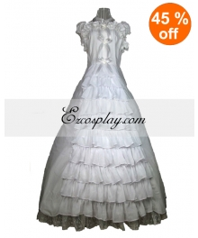 Cutton White Lace Sleeveless Gothic Lolita Dress