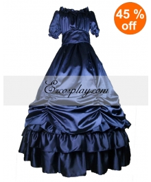 Satin Deep Blue Short Sleeve Classic Lolita Dress