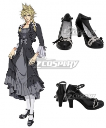 Final Fantasy VII Remake Cloud Strife Girl Black Cosplay Shoes