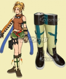 Final Fantasy X Rikku Black Yellow Shoes Cosplay Boots
