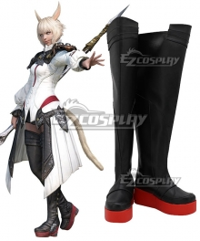 Final Fantasy XIV FF14 Y'shtola Rhul Yshtola Rhul Black Shoes Cosplay Boots