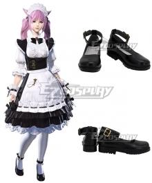 Final Fantasy XIV Housemaid's Apron Dress Black Cosplay Shoes