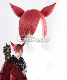 Final Fantasy XIV The Crystal Exarch G'raha Tia Red White Cosplay Wig - Wig + Ears