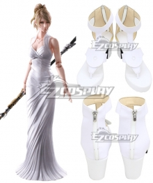 Final Fantasy XV FFXV Lunafreya Nox Fleuret White Cosplay Shoes