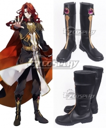 Fire Emblem: Genealogy of the Holy War Arvis Black Golden Shoes Cosplay Boots