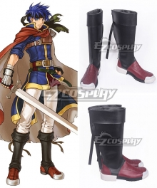 Fire Emblem Ike Black Red Shoes Cosplay Boots
