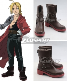 Fullmetal Alchemist Edward Elric Brown Shoes Cosplay Boots