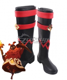 Genshin Impact Pyro Abyss Mages Black Shoes Cosplay Boots