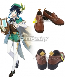 Genshin Impact Venti Brown Cosplay Shoes